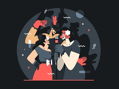 Sing, sing, sing 🎵 1930 retro vintage jazz singer woman flat vector illustration