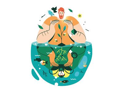 Ecosytem 🌱 character biodiversity environment nature ecosystem vector illustration