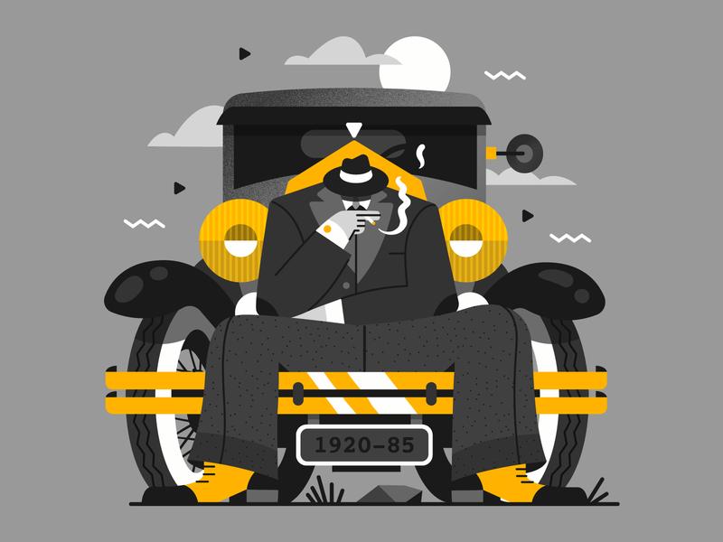 Break Time  ▌▌ peakyblinders smoking character car vintage retro vector 1920 illustration