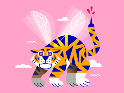 Tiger Mosquito 😅 blood pink sky flying wild illustrator mosquito tiger flat vector illustration