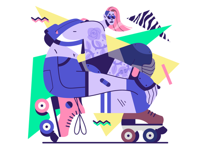 Back to the 90's 🕶️ illustration characterdesign retro skating tattoo pattern memphis 90s 80s woman rollerskate vector