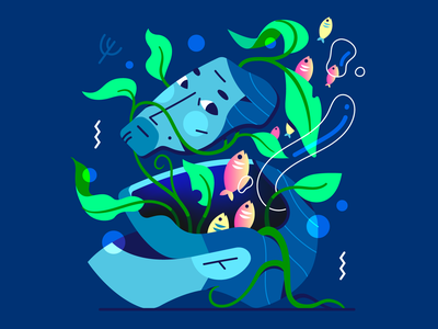 Mind Flow 🐠 seaweed coral fish plant growing nature water head vector illustration