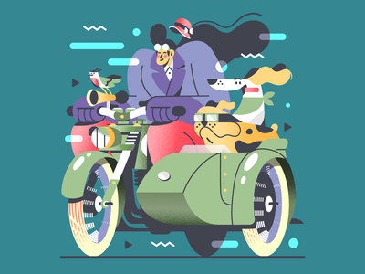 At full speed! 🐶 bird bulldog hat 1930 vintage motorcycle bike woman dog vector illustration