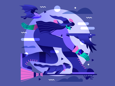 Surfing 🎃 dribbbleweeklywarmup moon crow bat spider cat witch spooky halloween vector illustration