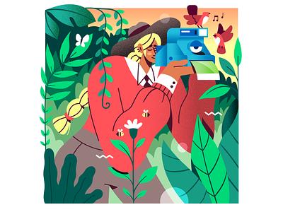Say Cheese! 😁📸🌿 plants jungle nature birds woman photography camera polaroid flat vector illustration