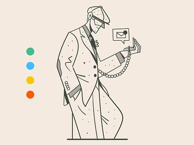 Smart (pocket) watch smartwatch elegant 1920 peakyblinders suit fashion vector notification watch retro vintage illustration