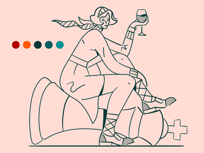 Checkmate! ♟️🍷💊 thequeensgambit retro vintage drugs wine queen king chess flat vector illustration