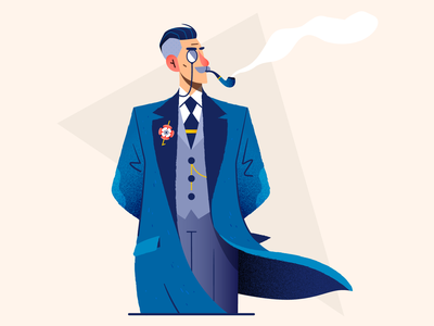 Old-fashioned 🧐 elegant smoking smoke monocle old fashioned flat retro vintage vector illustration