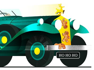 Mr. Claus 🎅 retro speed car vintage santa christmas vector illustration