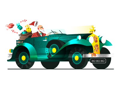 Mr. Claus 🎅 retro speed car vintage santa christmas vector illustration
