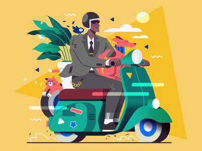 Vespa Squad! 🐶🐱🐦🌿 elegant retro vintage plant bird cat dog vespa scooter vector illustration