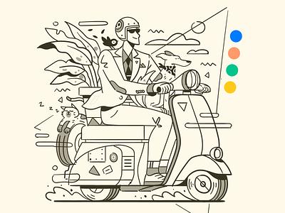Vespa Squad! 🐶🐱🐦🌿 elegant retro vintage plant bird cat dog vespa scooter vector illustration