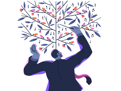 Spring Melody 🌸🎵🐦 tree spring singing birds music orchestra nature flat vector illustration