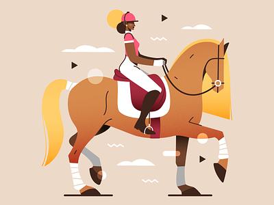 La cavalière 🐴 equestrian riding equitation horse horsewoman horserider rider flat vector illustration