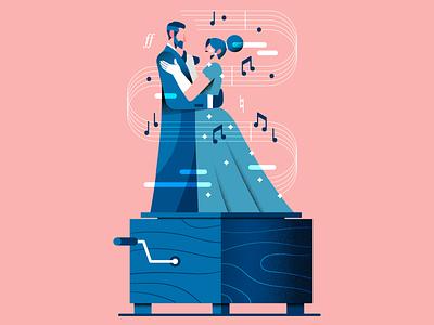Music Box (v2) dress suit elegant waltz dancing music box couple music adobeillustrator vector illustration