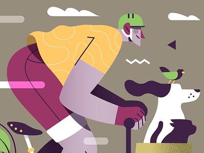 A bicyclette ! 🐶🐱🐦🌿 adventure nature plants wheel riding speedline speed illustrator illustrations ride bicycle bike brompton character gaspart bird cat dog illustration vector