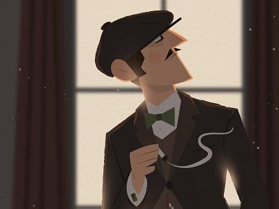 Peaky Blinders Inspiration tweed bowtie cap cigarette vintage retro elegant british gang illustration