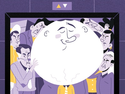 Leave your ego behind before going to work 😏 flat  design contrast purple yellow big head elevator office work arrogant ego illustration flat vector