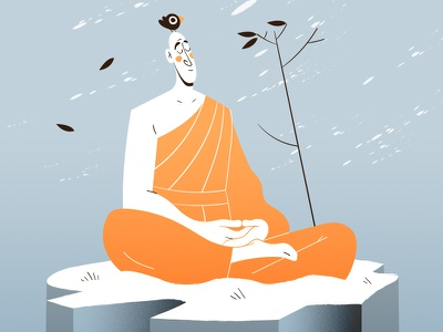 """Through discipline comes freedom."" 🧘 2d flat zen lotus bird illustration vector peace blizzard snow cold freedom discipline monk meditation"