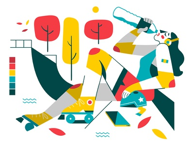 Break Time  ▌▌ flat vector illustration colorful break woman roller