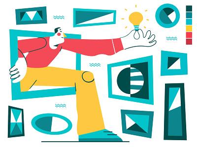 Thinking Outside the Framework 💡 design character outside idea thinking framework contrast vector flat illustration