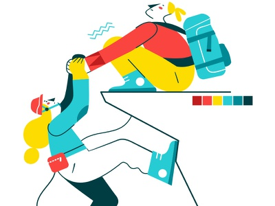 Hang on! 💪 woman strong sport effort illustration character vector flatdesign hangon sisters climb