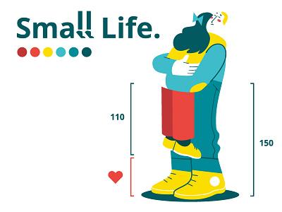 Small Life / Tall Life #1 love flatdesign illustration vector woman man tall hug couple small