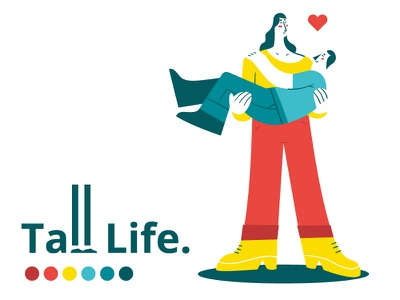 Small Life / Tall Life #1 couple love small size illustration character vector flat tall