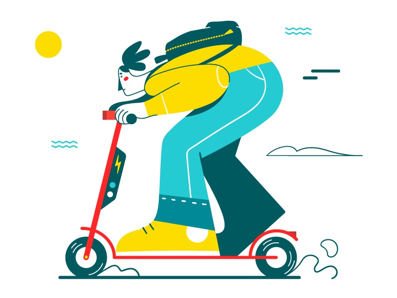 FASTER! 💨 backpack fast speed character electric scooter vector flat illustration