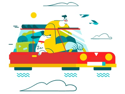 Flying Away! 🚗 character illustration flat future bird fly dog car vector