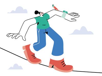 Find your balance design character flat bird sky clouds illustration vector balance