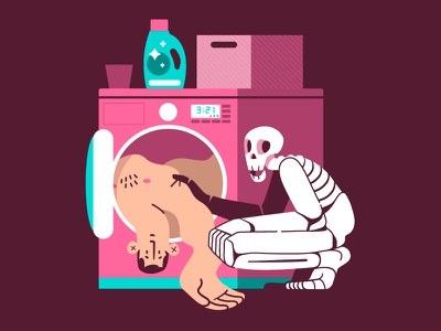 Skincare Routine ✨ machine laundry washing skin skincare skull vector flat illustration flat design character