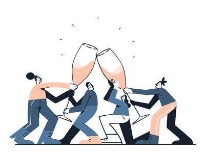 Cheers! vector people champagne drinks cheers flat illustration flat design character