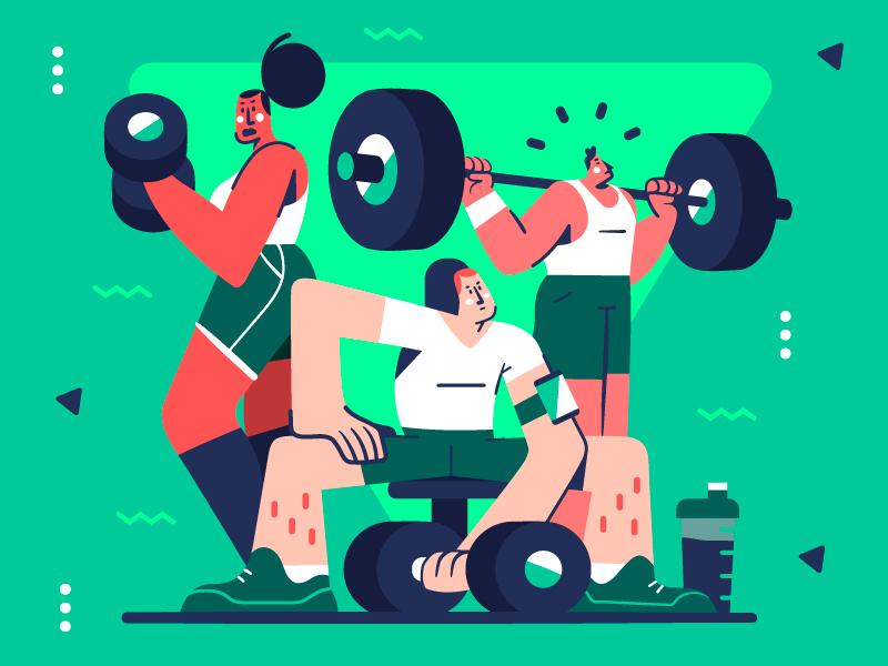 Gym Time! 💪😤 motivation sport gym workout people design character vector flat flat illustration illustration