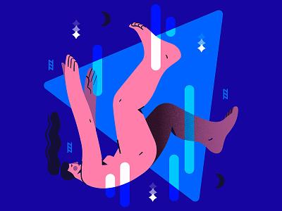 Falling Asleep 💤 vector pattern sleep fall woman flat illustration flat design character