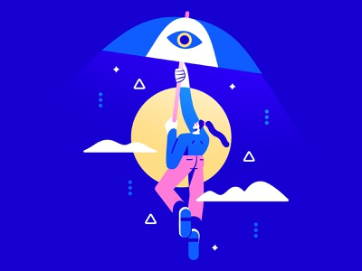 Moonlight 🌝 eye umbrella vector flat flat illustration character character design moon