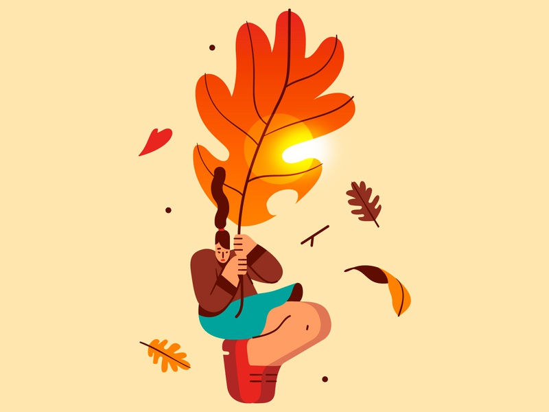 First day of Fall 🍂 autumn leaf woman vector flat illustration flat character design warm