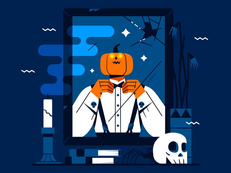 Getting Ready! 🎃🎩💀 illustration flat character design pumpkin vector dribbbleweeklywarmup spooky halloween elegant character