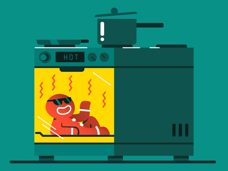 Gingerbread man 😎🎄 hot gingerbread cake cooking oven flat vector illustration character