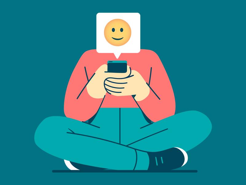 🙂 smiley smile emoji character phone vector flat illustration
