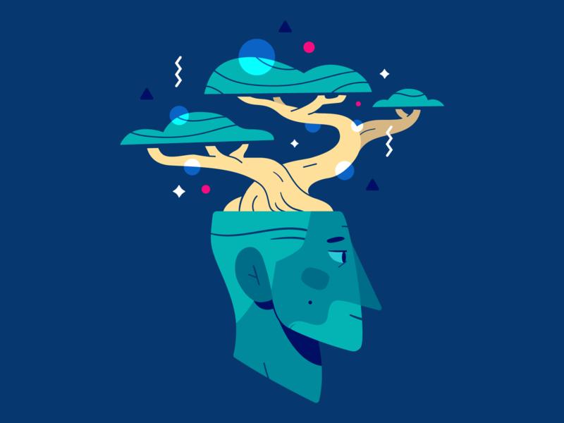 Grow Your Mind 🌱 pattern grow bonsai tree head flat illustration vector