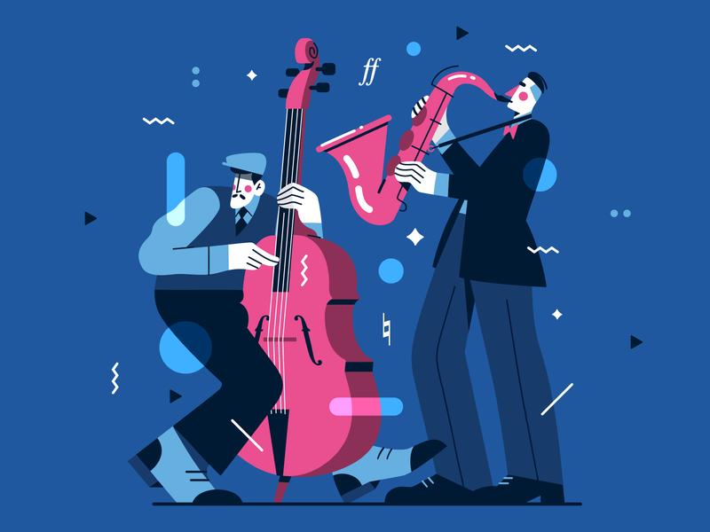 Jazzy Illustration 🎷🎶 musicians character pattern saxophone jazz music flat vector illustration