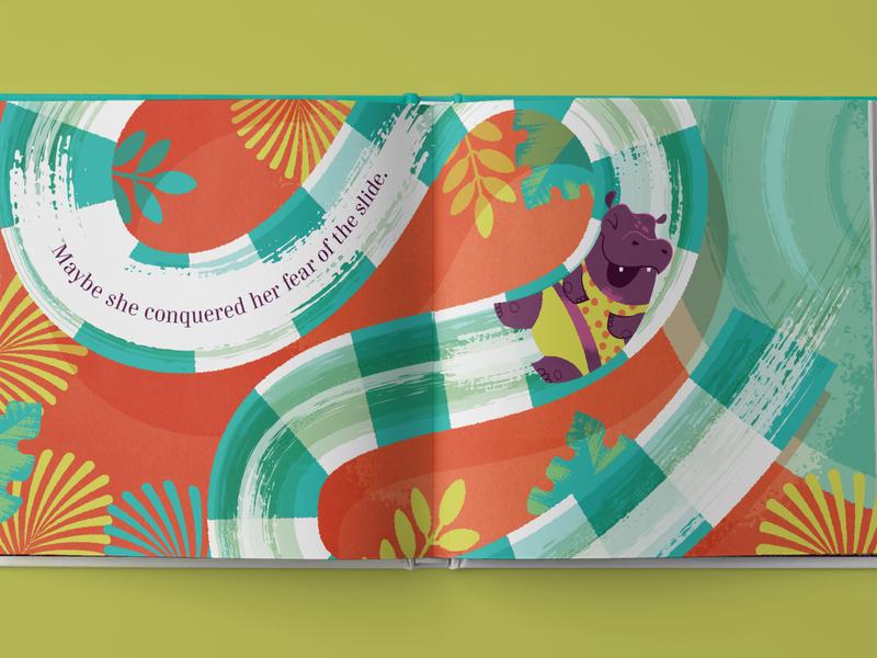 Hip Hooray, Hippo, slide spread kickstarter childrens book vector illustration