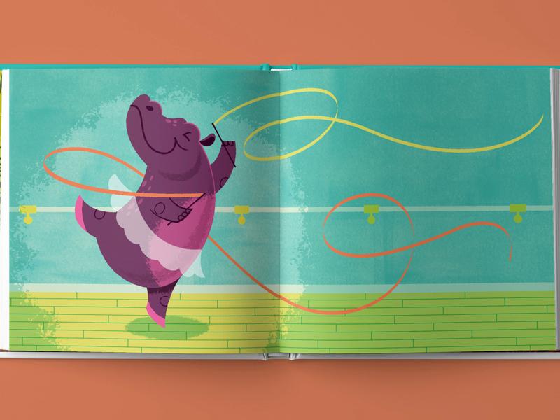 Hip Hooray, Hippo! Ballet Spread childrens book illustration vector