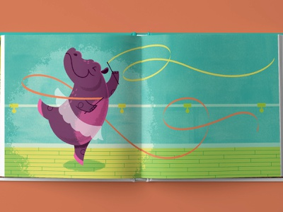 Hip Hooray, Hippo! Ballet Spread childrens book illustration vector