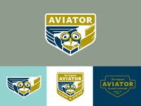 Aviator logos shield badge animal pet aviation logo bird