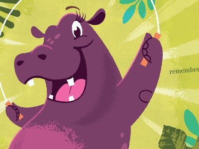 Hip Hooray Hippo!, Jumping rope illustrator illustration childrens book hippopotamus hippo