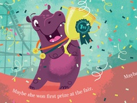 Hip Hooray, Hippo! First Prize childrens book illustrator hippopotamus hippo