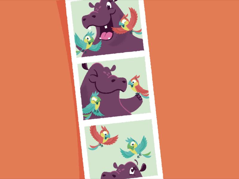Hip Hooray, Hippo! Photo booth strip childrens book illustrator illustration bird hippopotamus hippo