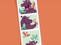 Hip Hooray, Hippo! Photo booth strip childrens book illustrator illustration bird hippopotamus hippo